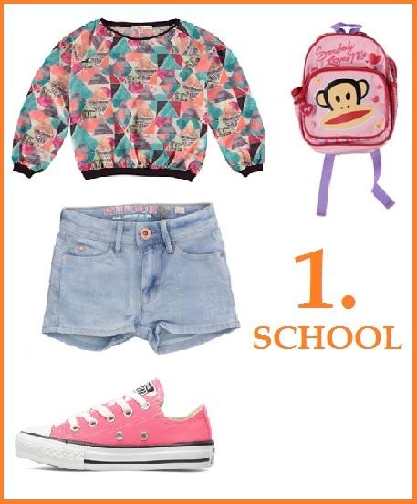 3 verschillende outfits met een denim short
